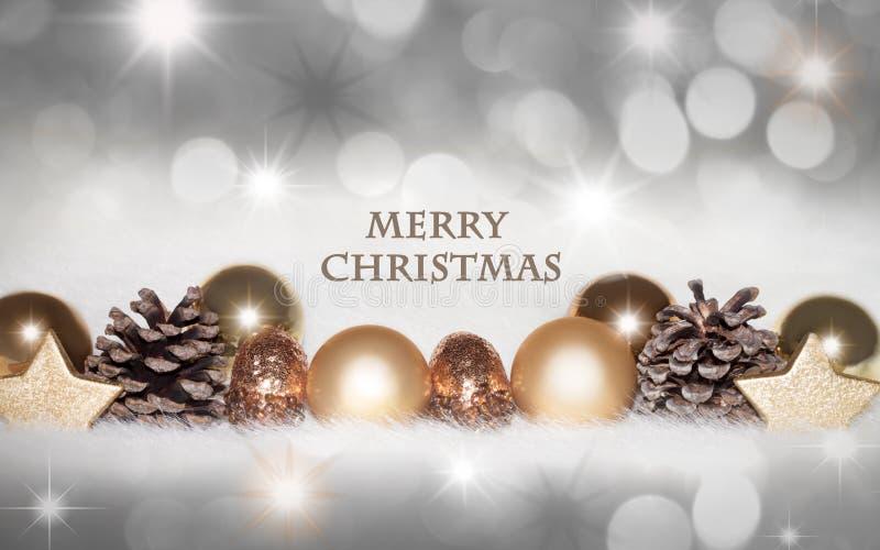 Золотая, серебряная предпосылка рождества стоковые фотографии rf