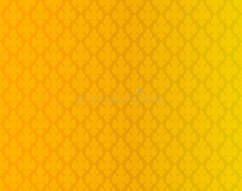 Золотая тайская винтажная предпосылка вектора картины иллюстрация штока