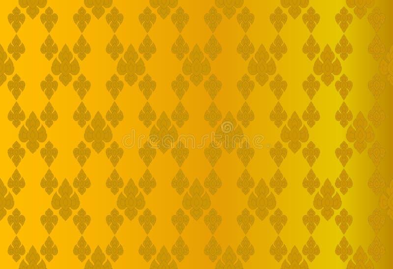 Золотая тайская винтажная предпосылка конспекта картины иллюстрация штока