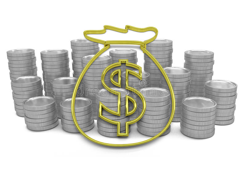 Золотая толпа значка денег с монетками на предпосылке иллюстрация штока