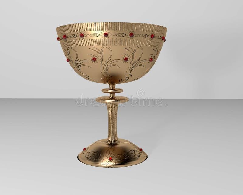 Золотая чашка с рубинами иллюстрация вектора