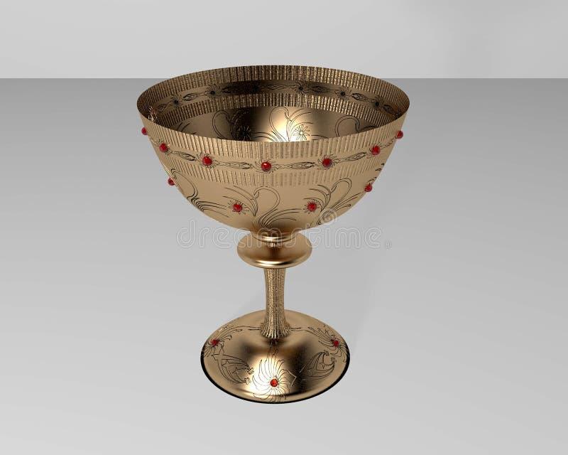 Золотая чашка с рубинами иллюстрация штока