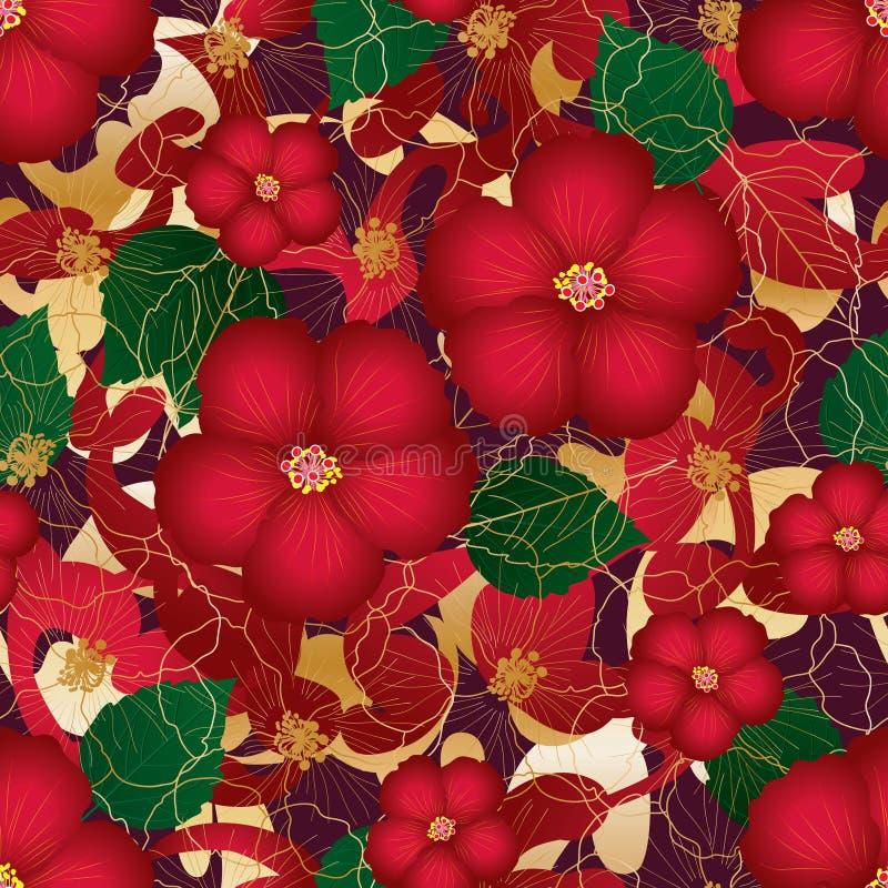 Золота стиля гибискуса картина красного безшовная иллюстрация вектора