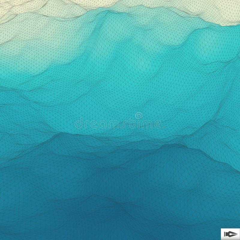 золотистая поверхностная вода пульсаций Волнистая предпосылка решетки мозаика иллюстрация штока