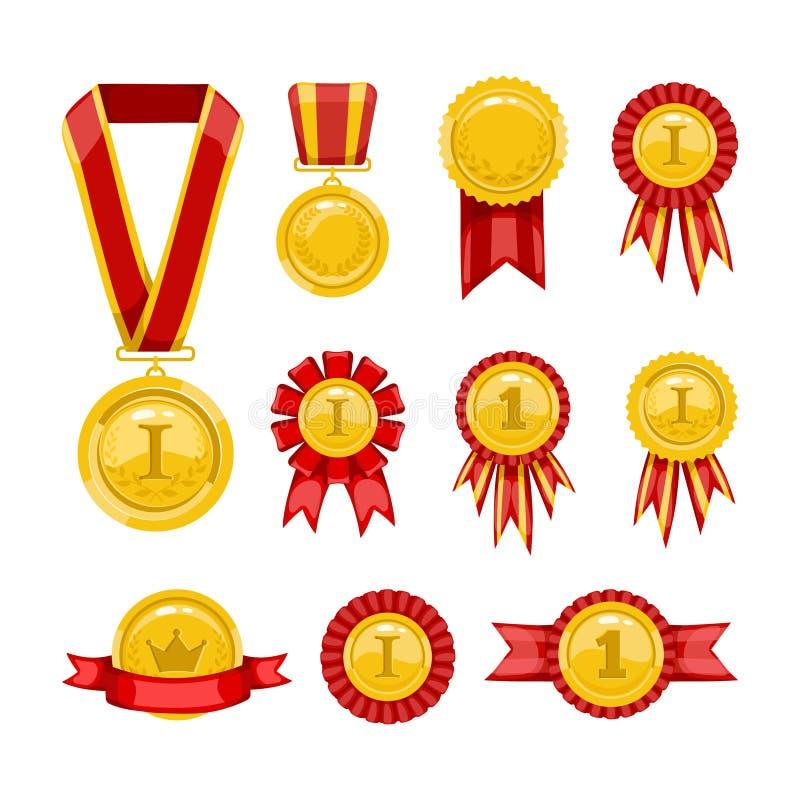 золотистые медали иллюстрация вектора