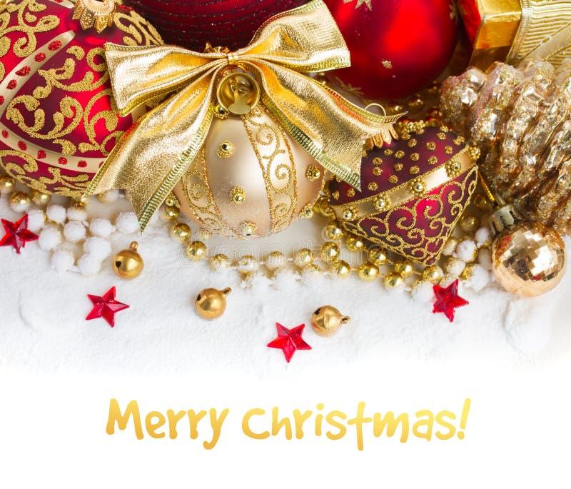 Золотистые украшения рождества стоковые фотографии rf
