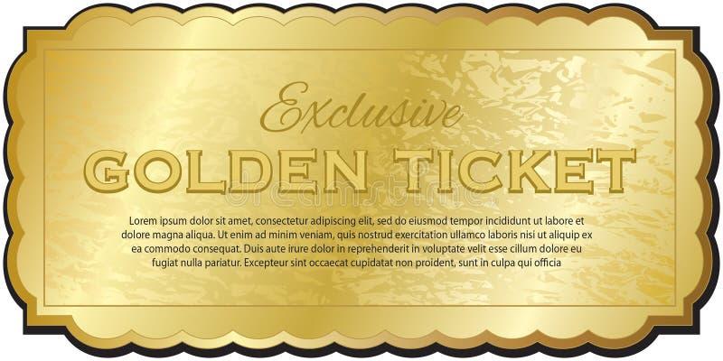 Золотистый билет бесплатная иллюстрация