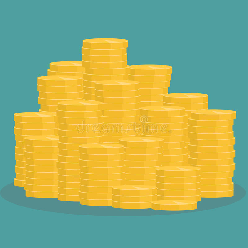 Золотистый стог монеток бесплатная иллюстрация