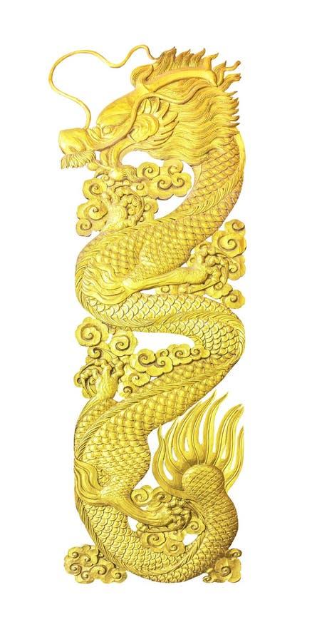Золотое деревянное изолированное пристрастие дракона стоковое изображение