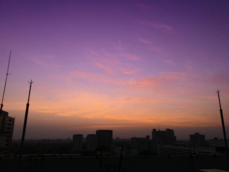 золотое небо в утре стоковые изображения
