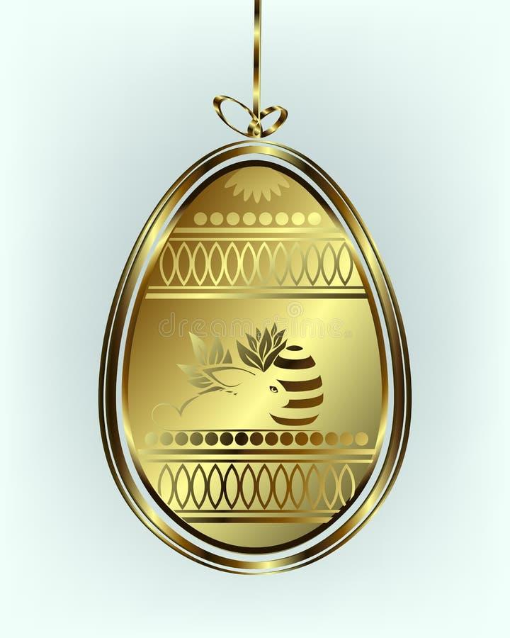 Золотое пасхальное яйцо с смычком бесплатная иллюстрация