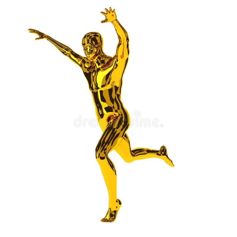 Золотое повышение бегуна его оружия, выигрывая концепция бесплатная иллюстрация