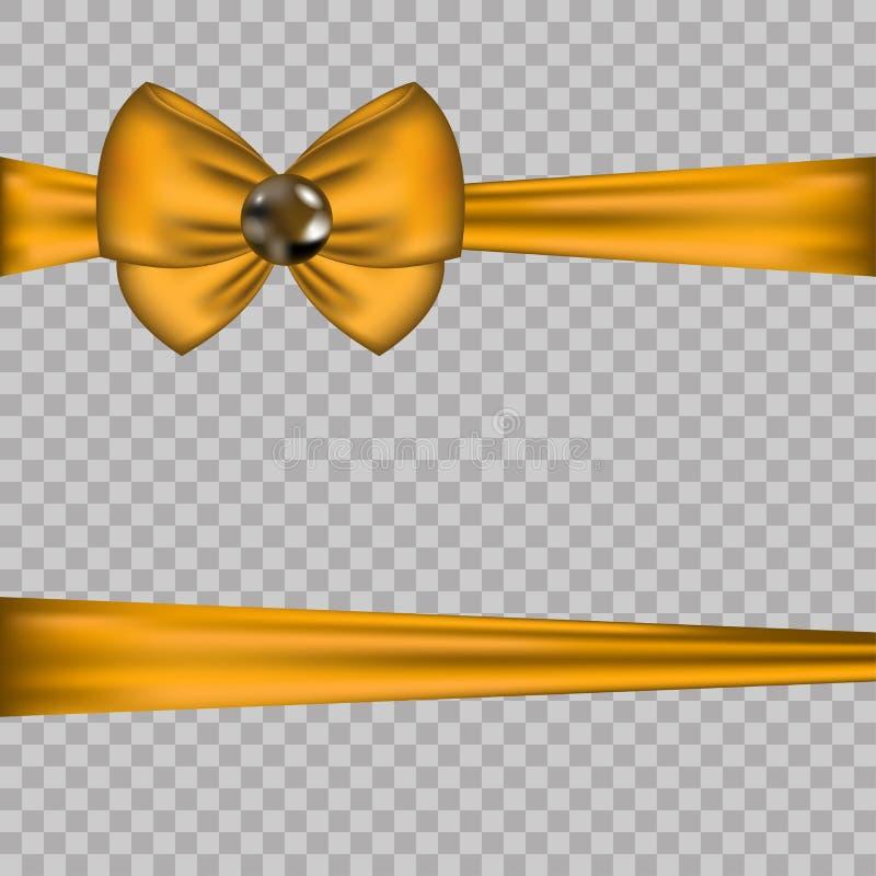Золотое украшение смычка с горизонтальными лентами на прозрачной предпосылке Иллюстрация вектора карточки подарка декоративный эл иллюстрация вектора