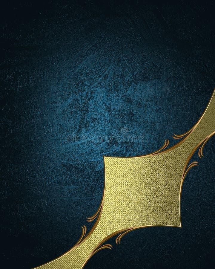 Золотое украшение с голубой текстурой Шаблон для конструкции скопируйте космос для брошюры объявления или приглашения объявления, иллюстрация вектора