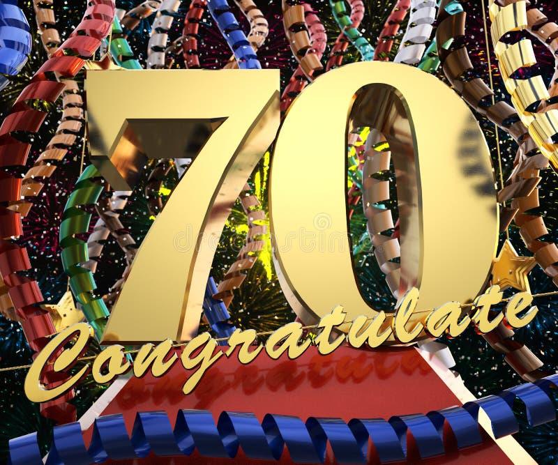 Золотое число 70 с поздравлениями слов на предпосылке красочных лент и салюта иллюстрация 3d иллюстрация штока