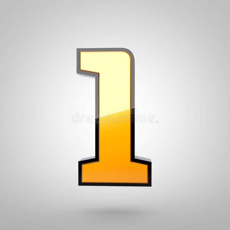 Золотое число 1 с черным филе бесплатная иллюстрация