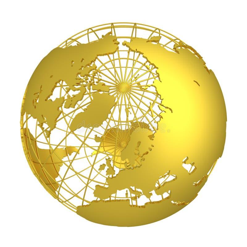 Золотой глобус планеты 3D земли бесплатная иллюстрация