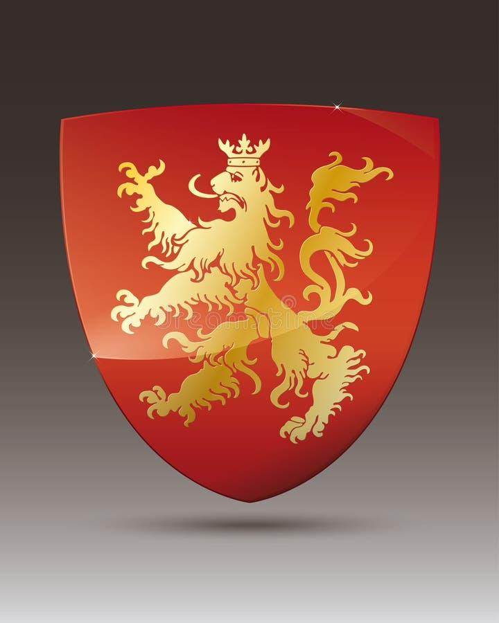 Золотой лев на красном гербе экрана бесплатная иллюстрация