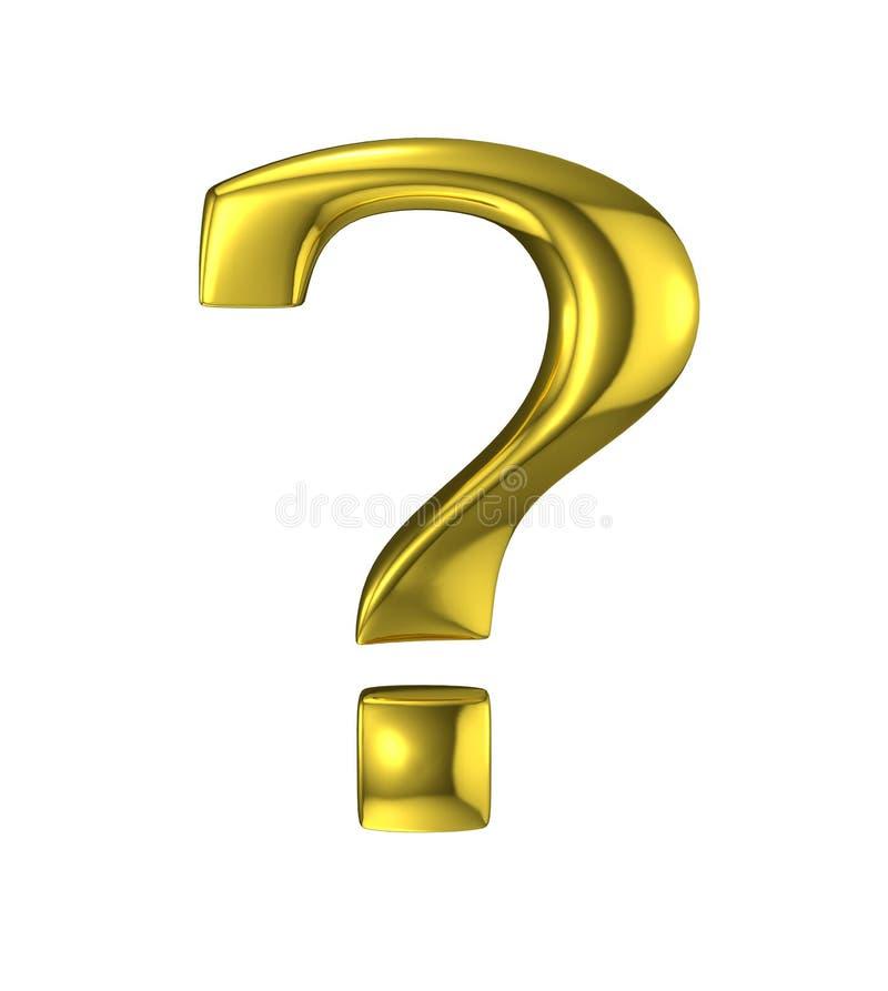 Золотой знак вопросительного знака металлический иллюстрация вектора