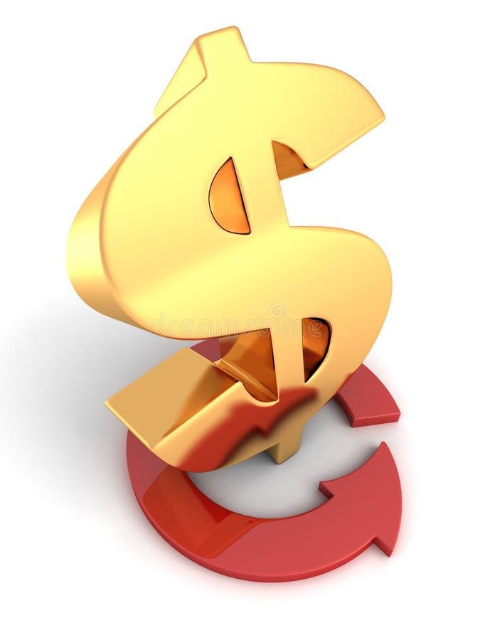 Золотой знак доллара и красная стрелка цикла вокруг на белой предпосылке иллюстрация штока
