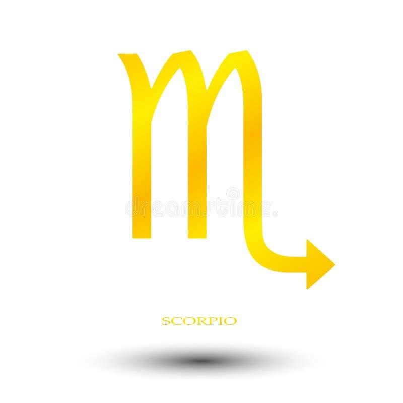 Золотой знак скорпиона иллюстрация вектора