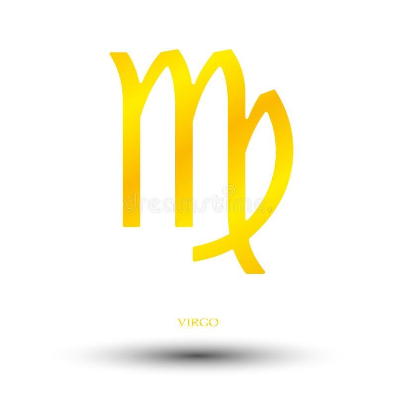 Золотой знак virgo иллюстрация штока