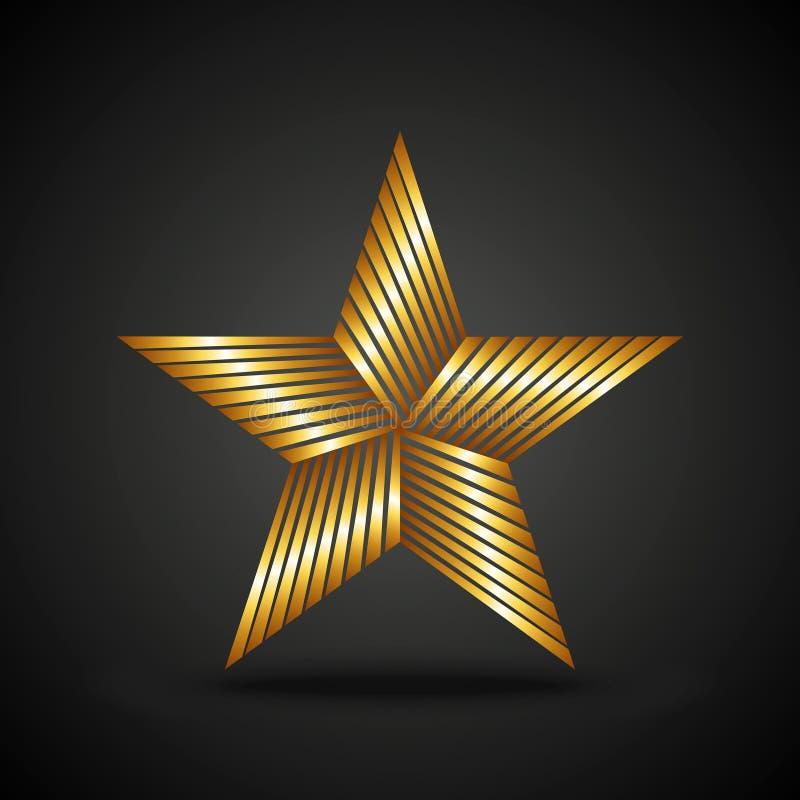Золотой значок звезды на темной предпосылке иллюстрация штока