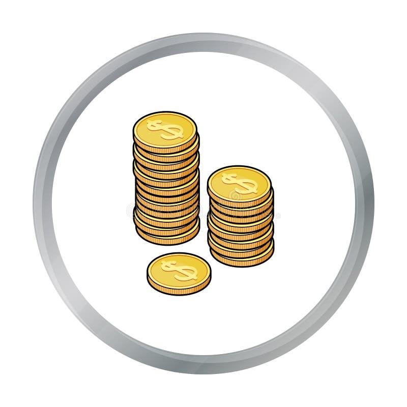 Золотой значок монеток в стиле шаржа изолированный на белой предпосылке бесплатная иллюстрация
