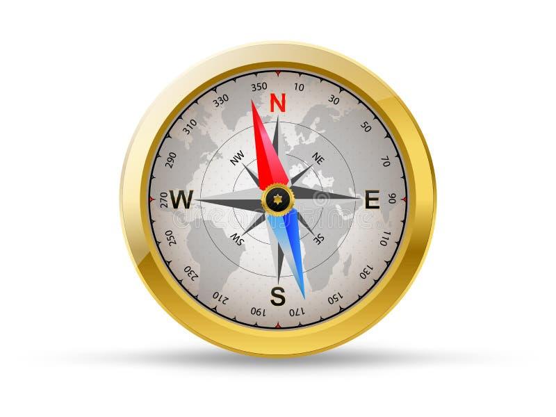 Золотой компас иллюстрация вектора