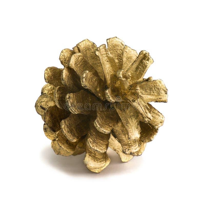 Золотой конус рождества изолированный на белой предпосылке стоковое изображение