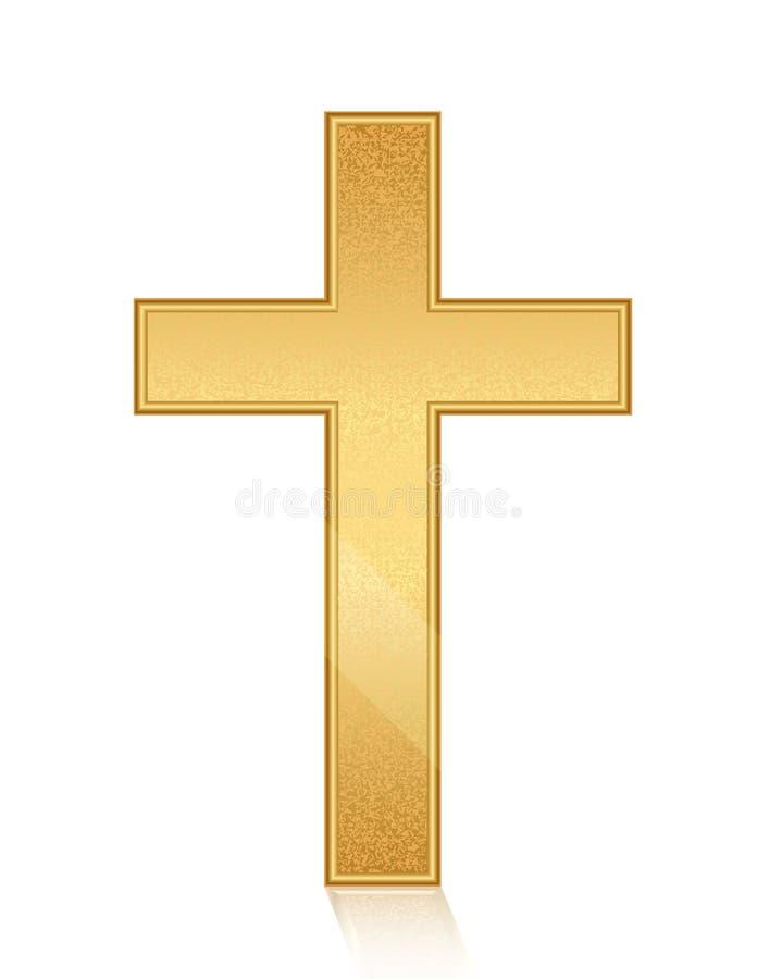 Золотой крест иллюстрация вектора