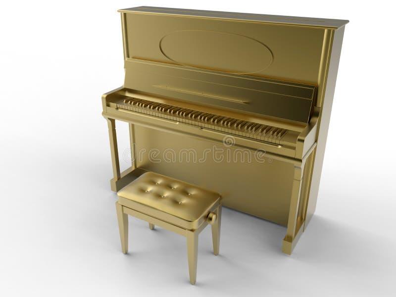 Золотой классический рояль иллюстрация вектора