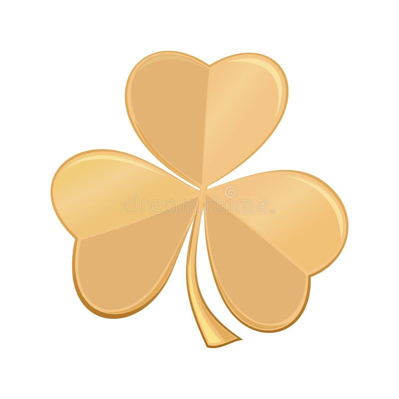 Золотой клевер трилистника значка Символ дня St Patrick иллюстрация штока
