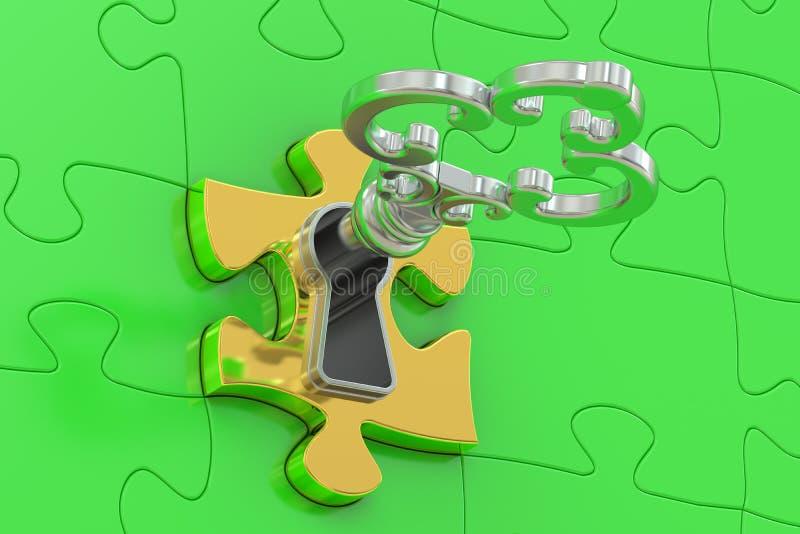 Золотой ключ и зеленая головоломка иллюстрация штока