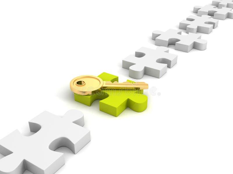 Золотой ключ успеха на зеленой мозаике иллюстрация вектора
