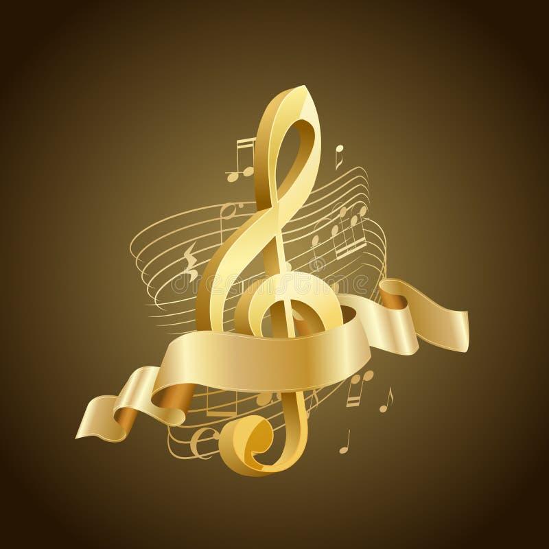 Золотой музыкальный дискантовый ключ с абстрактными линиями и примечаниями, лентой иллюстрация вектора