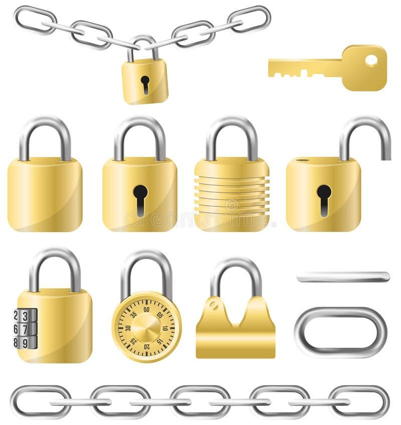 Золотой набор замка и цепи иллюстрация вектора
