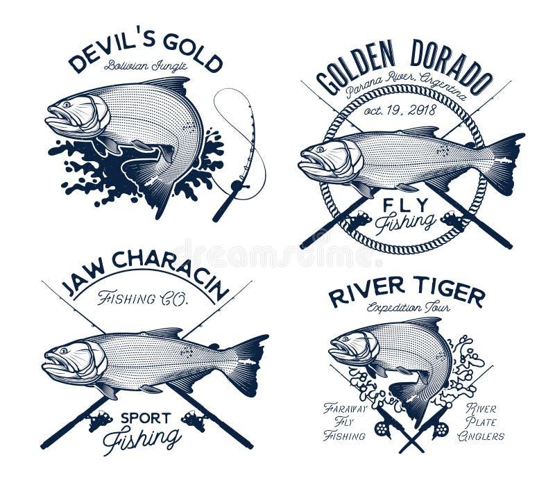 Золотой логотип рыбной ловли Dorado также вектор иллюстрации притяжки corel бесплатная иллюстрация