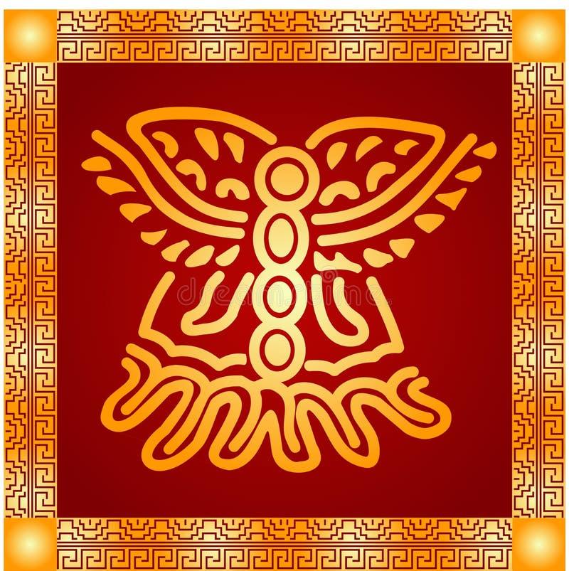 Золотой орнамент американских индейцев, ацтека и Майя стоковое фото
