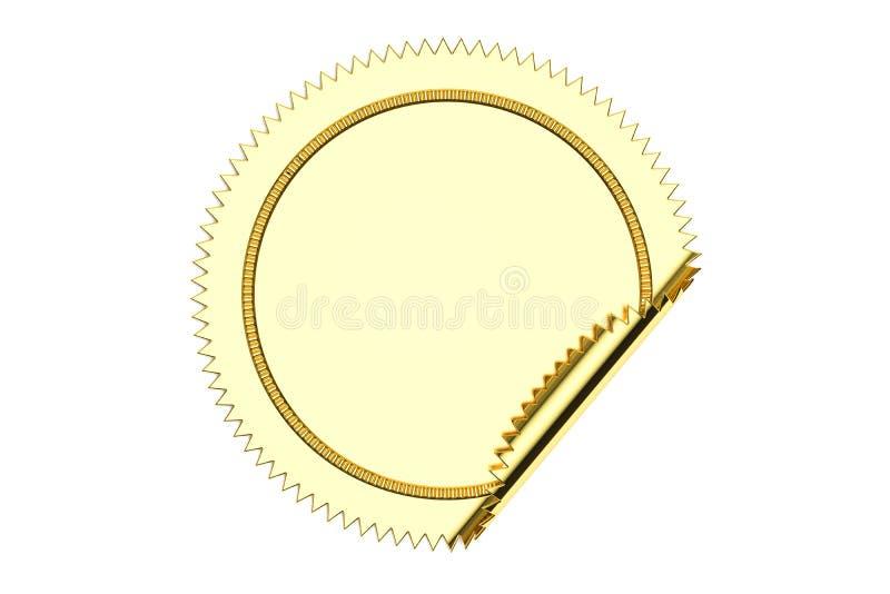Золотой пустой крупный план стикера круга, перевод 3D иллюстрация штока
