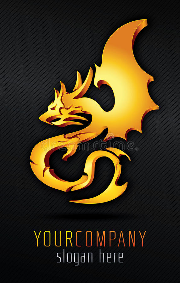 Золотой дракон иллюстрация вектора