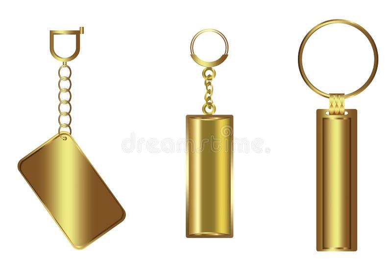 Золотой роскошный пустой комплект ключевой цепи иллюстрация вектора