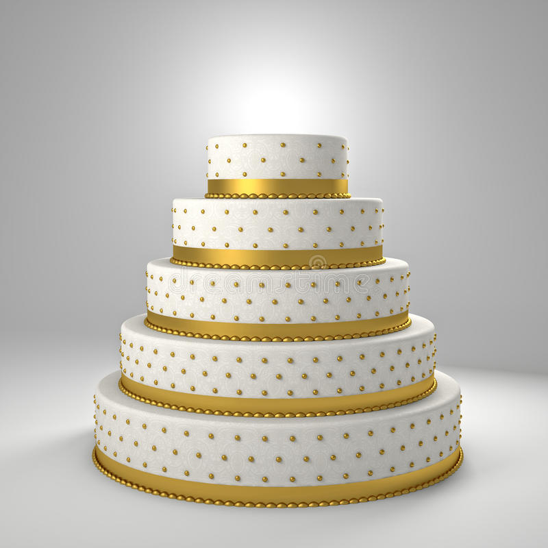 Золотой свадебный пирог иллюстрация штока