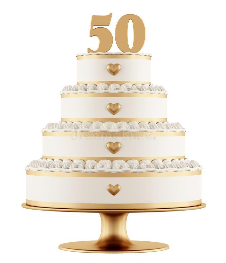 Золотой свадебный пирог иллюстрация вектора