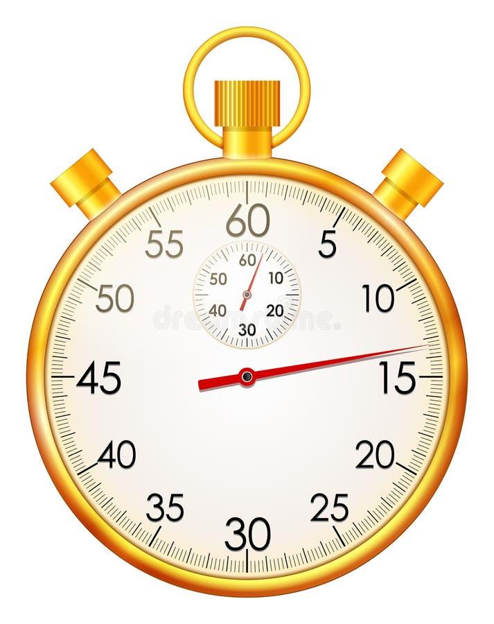 Золотой секундомер иллюстрация вектора