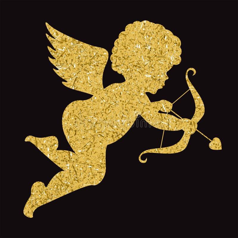 Золотой силуэт ангела на черной предпосылке купидон иллюстрация вектора