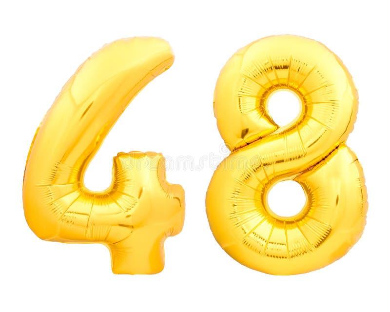 Золотой 48 сорок восемь сделал из раздувного воздушного шара на белизне стоковое фото rf
