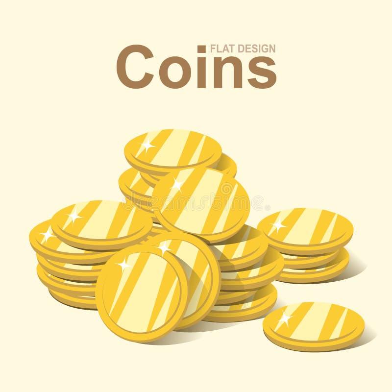 Золотой стог монетки, куча денег золота, плоский вектор дизайна бесплатная иллюстрация