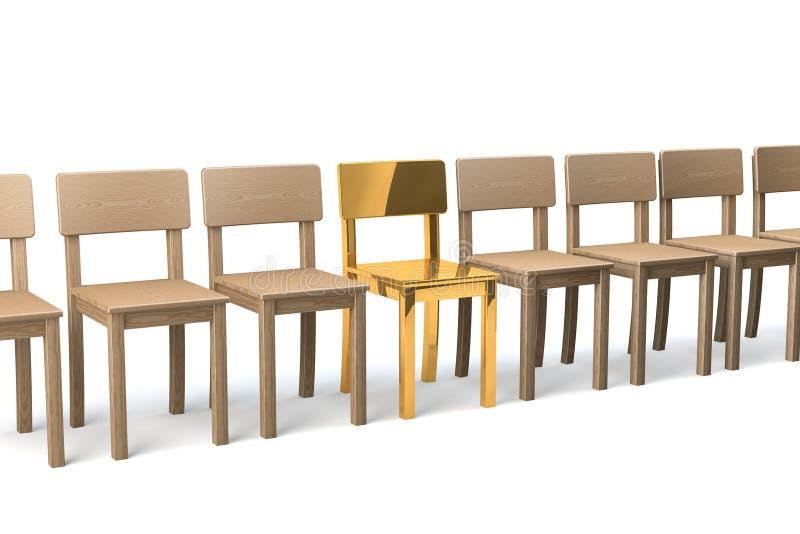 Золотой стул в ряд стоковая фотография rf