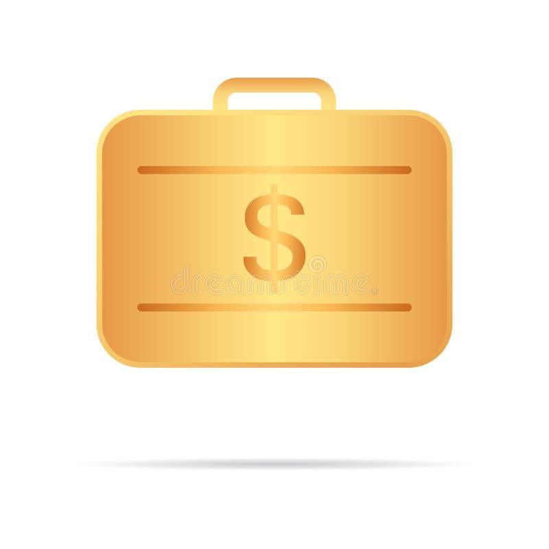 Золотой чемодан с деньгами также вектор иллюстрации притяжки corel Ваша личная бесплатная иллюстрация